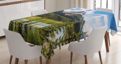 Dağ Manzaralı Masa Örtüsü Yeşil Ağaç Orman Doğa