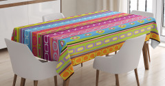 Rengarenk Desenli Masa Örtüsü Çizgili Daire Şık