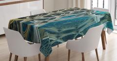 Fraktal Tasarımlı Masa Örtüsü Mavi Sarı Şık Tasarım