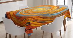 Spiral Fraktal Desenli Masa Örtüsü Turuncu Mavi Şık