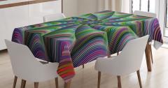 Rengarenk Desenli Masa Örtüsü Fraktal Geometrik