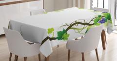 Üzüm Desenli Masa Örtüsü Yeşil Mavi Beyaz Yaprak Şık