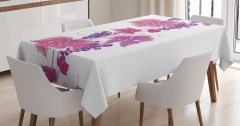 Üzüm ve Yaprak Desenli Masa Örtüsü Pembe Mor Beyaz