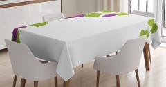 Üzüm Salkımı Desenli Masa Örtüsü Mor Yeşil Beyaz