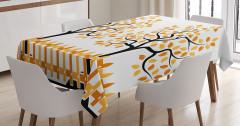 Turuncu Ağaç Desenli Masa Örtüsü Şık Tasarım Yaprak