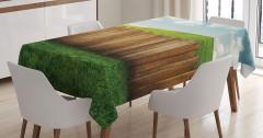 Bahçe Çiti Temalı Masa Örtüsü Kahverengi Yeşil Mavi