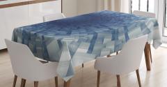 Mavi Tünel Desenli Masa Örtüsü 3D Etkili Uzay Gemisi