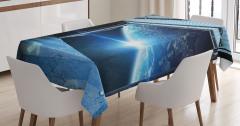 Uzay Gemisi Temalı Masa Örtüsü Mavi Dünya Bilim