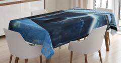 Uzay Gemisi Temalı Masa Örtüsü Mavi Gezegen Evren