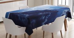 Bulut ve Gökyüzü Temalı Masa Örtüsü Mavi Gündüz Gece