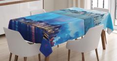 Gündüz ve Gece Temalı Masa Örtüsü Mavi Gökdelen