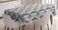 Gri Geometrik Desenli Masa Örtüsü Dekoratif Şık