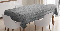 Metal Temalı Masa Örtüsü Gri Gümüş Şık Tasarımlı