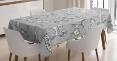 Kedi Desenli Masa Örtüsü Gri Şık Tasarım Sevimli