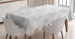 Daire Desenli Masa Örtüsü Geometrik Gri Beyaz Şık
