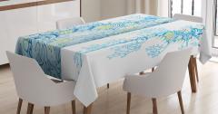 Denizatı Desenli Masa Örtüsü Mavi Beyaz Şık Tasarım