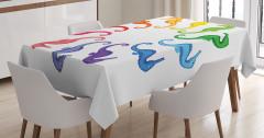Rengarenk Denizatı Desenli Masa Örtüsü Beyaz Fon