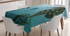 Denizatı Desenli Masa Örtüsü Mavi Şık Tasarım Su