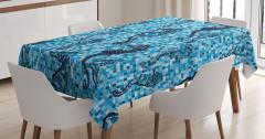Denizatı Desenli Masa Örtüsü Mavi Mozaik Zemin Şık