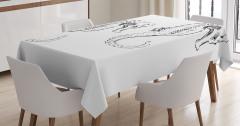 Denizatı Desenli Masa Örtüsü Siyah Beyaz Şık Tasarım