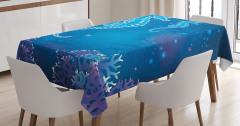 Su Altı Temalı Masa Örtüsü Denizatı Parlak Mavi Şık