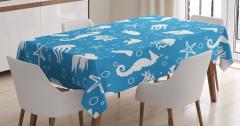 Balık ve Denizatı Desenli Masa Örtüsü Mavi Beyaz