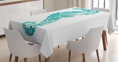 Denizatı Desenli Masa Örtüsü Yeşil Beyaz Şık Tasarım