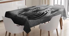 Zebra Desenli Masa Örtüsü Siyah Beyaz Şık Tasarım