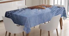 Nehirdeki Ayılar Temalı Masa Örtüsü Mavi Kahverengi