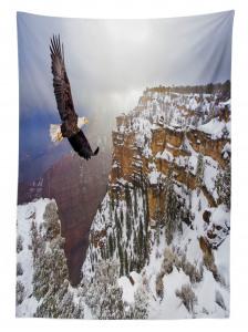 Kartal ve Karlı Dağ Temalı Masa Örtüsü Kahverengi