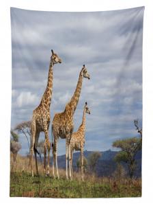Zürafa Temalı Masa Örtüsü Afrika Vahşi Yaşam Mavi