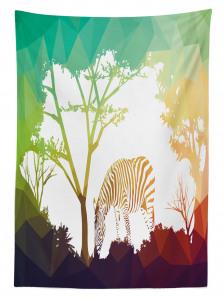 Ormandaki Zebra Temalı Masa Örtüsü Yeşil Kahverengi