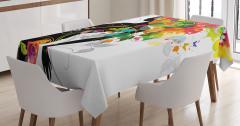 Rengarenk Saçlı Kız Desenli Masa Örtüsü Şık Tasarım