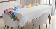 Rengarenk Harf Desenli Masa Örtüsü Beyaz Fon Şık