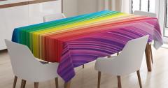 Rengarenk Çizgili Masa Örtüsü Geometrik Desenli Şık