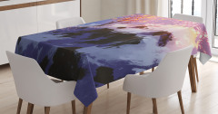 Karlı Orman Temalı Masa Örtüsü Gri Kış Şık Tasarım