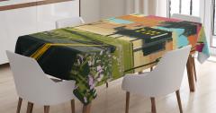 Çayırdaki Ev Temalı Masa Örtüsü Yeşil Kahverengi