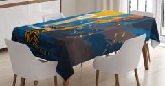 Kaplan Desenli Masa Örtüsü Mavi Turuncu Şık Tasarım