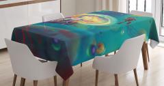 Su Altı Temalı Masa Örtüsü Fantezi Mavi Şık Deniz