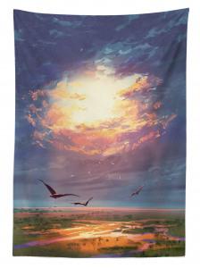 Altın Işıklı Gökyüzü Temalı Masa Örtüsü Kuş Bulut