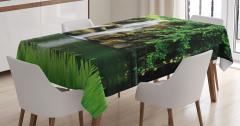 Süs Şelalesi ve Yeşil Doğa Temalı Masa Örtüsü Şık