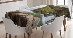 Yeşil Orman Manzaralı Masa Örtüsü Şelale ve Kaya