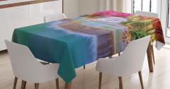 Şelale Manzaralı Masa Örtüsü Turuncu ve Mor Ağaçlı