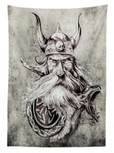 Boynuzlu Şapkalı Viking Desenli Masa Örtüsü Siyah