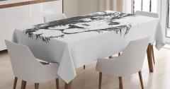 Dekoratif Gri Aslan Desenli Masa Örtüsü Beyaz Fonlu