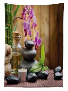 Feng Shui Temalı Masa Örtüsü Siyah Taş ve Orkideli
