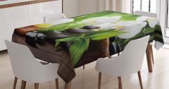 Orkide Mum ve Taş Temalı Masa Örtüsü Spa Efektli