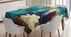Kum Çubuklar ve Çiçek Temalı Masa Örtüsü Mavi Beyaz