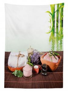 Spa Etkili Bambu Temalı Masa Örtüsü Mor Çiçekli