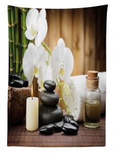 Siyah Taş ve Beyaz Orkide Temalı Masa Örtüsü Şık